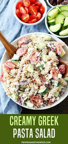 Pasta Salad made with tomatoes cucumbers olives red onion feta cheese Cooking Greek Pasta Salad made with tomatoes cucumbers olives red onion feta cheese Cooking Mayo Pasta Salad Recipes, Cucumber Pasta Salad, Creamy Pasta Salads, Healthy Pasta Salad, Summer Pasta Salad, Easy Salad Recipes, Healthy Pastas, Healthy Recipes, Yogurt Recipes