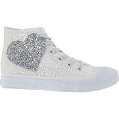 White Glitter Heart High Top Sneakers - Girls  Trainers - Trainers - Shoes  - Kids 55533eb6b