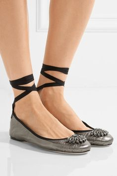 Jimmy Choo - Grace Crystal-embellished Metallic Leather Ballet Flats - Gunmetal