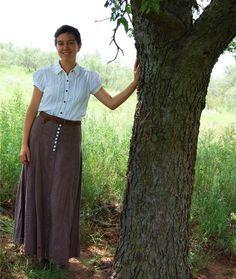 Edwardian Modern Linen Skirt