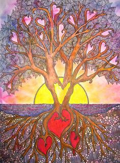 """Tree of Life #2 by """"darladraws"""" via Flickr.  Like the use of the tree and the zentagle doodles."""