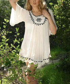 Look at this #zulilyfind! White Pom Pom Embroidered Tunic - Women by Ananda's Collection #zulilyfinds