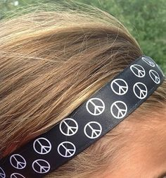 One Up Black with White Peace Signs Non Slip Headband