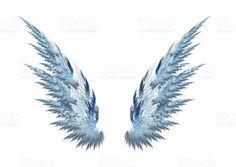 Asas de Anjo Azul fundo branco - foto de acervo royalty-free