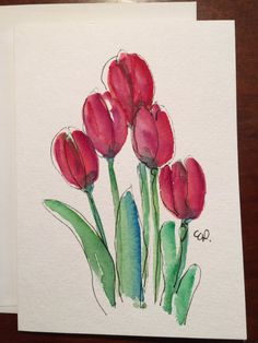 Red Spring Tulips Card / Hand Painted Watercolor by gardenblooms