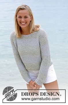 Tropical sea / DROPS - free knitting patterns by DROPS design - DROPS sweater in saffron and cotton viscose with double pearl pattern and stripes. Free patterns by - Sweater Knitting Patterns, Knit Patterns, Free Knitting, Drops Design, Sweater Making, Cotton Viscose, Cotton Sweater, Crochet Clothes, Knit Crochet