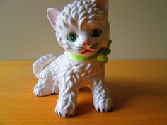 Vintage White Kitten Collectible Figurine by SunriseSunsetVintage, $14.00