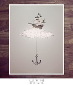 Floating Ship and Anchor Art Print - 11 x 17 Illustration Print Piece. Made to order for the home.