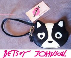 BETSEY JOHNSON Cat COIN PURSE WALLET Black WRISTLET Heart Zipper CLUTCH Small