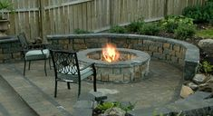 Try Fire & Stone Fire Pit Seating, Diy Fire Pit, Fire Pit Backyard, Backyard Patio, Backyard Landscaping, Fire Pits, Landscaping Ideas, Stone Backyard, Patio Table