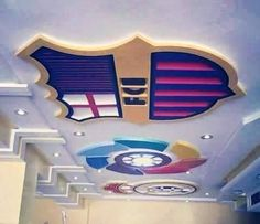POP design for ceiling for Kids who love barcelona and real madrid