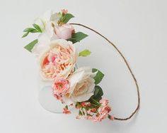 Peony Flower Crown Boho Wedding Garden Roses Blush Flower