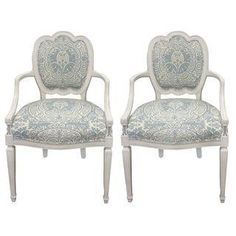 White Quadrille Upholstered Armchairs - Pair