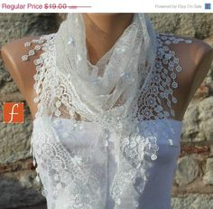 ON SALE White  Shawl Scarf  Necklace Cowl Scarf by fatwoman, $17.10
