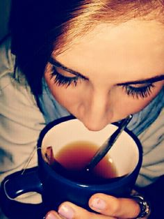 Mmmm yum. Tea in the morning. Warm and cozy.  Natural make-up. Chipped nails. Silver, leaf vine ring