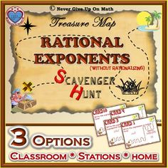 """The Scavenger Hunt activity focuses on working with """"Rational Exponents"""" - Rationalizing IS NOT REQUIRED in this activity. There are 16 cards (with 16 questions) that drills the understanding how to: •Write expressions in Radical Form •Write expressions in Exponential Form •Simplify expressions with Radicals & Rational Exponents •Simplify expressions with Decimal Exponents •Simplify expressions with negative Exponents (Rationalizing is NOT required in this activity)..."""