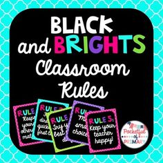"Classroom Rules PostersBlack and Brights themeFull page classroom rules posters that will brighten up any elementary classroom!The following are included:In cursive font with choice between multicolored title or solid colored title:""Our Classroom Rules"" poster""Rule 1: Respect yourself, others, and materials.""""Rule 2: Follow directions quickly the first time.""""Rule 3: Try your best every day.""""Rule 4: Make smart choices.""""Rule 5: Keep your teacher happy!""In print font with choice between…"