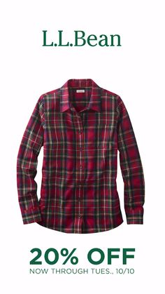 Get 20% OFF through 10/10. Stock up on comfy flannel, jeans and other fall staples.
