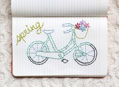 one sheepish girl: Journal Embroidery - A Mint Bicycle