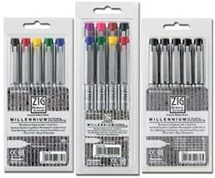 ZIG Millennium Fineliner Drawing Pen Sets - 5 Pen Black Set (005, 01, 03, 05, 08)