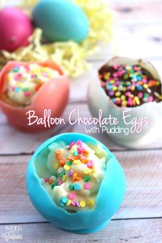 Balloon Chocolate Eggs with Pudding - Raining Hot Coupons Easter Recipes, Holiday Recipes, Dessert Recipes, Dessert Ideas, Appetizer Recipes, Appetizers, Raspberry Bars, Easter Dinner, Easter Lunch
