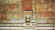 Wall with Torah niche, house-synagogue at Dura-Europos, Syria, wall-paintings of OT themes, 244-245, tempera on plaster