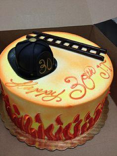 Firefighter Helmet & Ladder Birthday Cake | Shared by LION