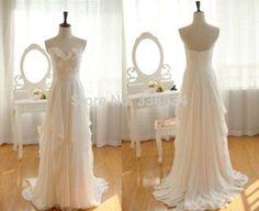 White-Ivory-Chiffon-Ruffles-Bridal-Dress-Simple-bohemian-Beach-Wedding-Dresses