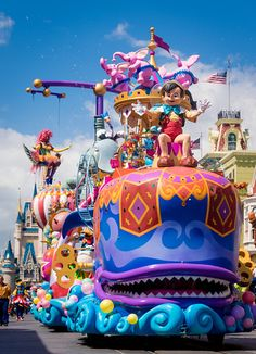 Festival of Fantasy Parade, 12 min, 3pm. Go from Main Entrance, around wagon wheel, through Liberty Sq to Adventureland. 7/10