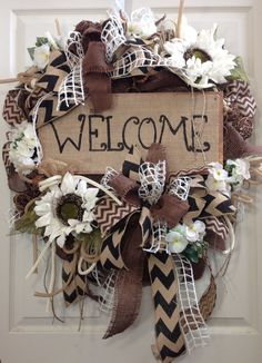Summer Wreath Burlap Wreath Everyday Burlap by WilliamsFloral Burlap Crafts, Wreath Crafts, Diy Wreath, Wreath Burlap, Wreath Ideas, Wreath Making, Deco Mesh Wreaths, Holiday Wreaths, Door Wreaths