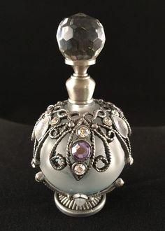 VTG Opalesque Glass Pewter Perfume Bottle; Glass Ball; Lavender Rhinestones 3G