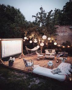 - Terrasse gemütlich wohnen Living comfortably in the terrace - garten Outdoor Movie Party, Outdoor Movie Nights, Outdoor Movie Screen, Outdoor Spaces, Outdoor Living, Outdoor Decor, Ikea Outdoor Lighting, Outdoor Gazebos, Outdoor Kitchens