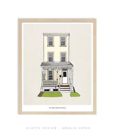 Items similar to Custom home portrait, custom hand-drawn home portrait, custom house illustration, custom housewarming gift, custom house portrait on Etsy Kitchen Prints, House Illustration, New Home Gifts, Pigment Ink, Custom Homes, House Warming, Hand Drawn, Latte, How To Draw Hands