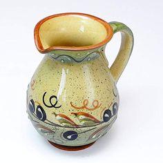ポルトガル製 陶器 ミルク はちみつ ピッチャー オリーブ柄 イエロー 手描き 水差し 黄色 pfa-42g-ov