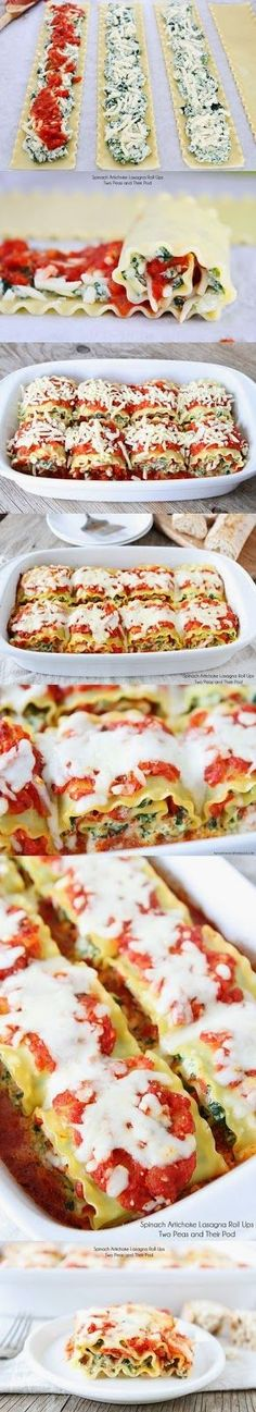 Spinach Artichoke Lasagna Roll Ups. Maybe replace artichoke with eggplant or cheese or even beef