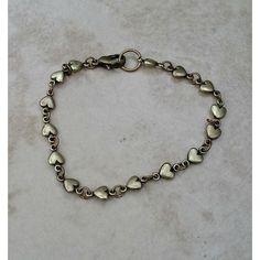Tiny Bronze Hearts Bracelet ($10) ❤ liked on Polyvore featuring jewelry, bracelets, etsyfru, heart bangle, heart jewelry, bronze bangle, bronze jewelry and heart-shaped jewelry