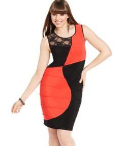 Love Squared Plus Size Dress, Sleeveless Colorblocked Lace Bandage - Plus Size Dresses - Plus Sizes - Macy's