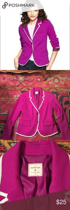GAP Academy Blazer in Purple This is the famous Gap Academy Blazer in a purple/fuchsia color. In great condition, and ready for a new owner to love it! Gorgeous white trim. GAP Jackets & Coats Blazers