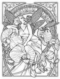 Art nouveau fairy coloring page Fairy Coloring Pages, Free Coloring Pages, Printable Coloring Pages, Coloring Books, Colouring Sheets, Kids Coloring, Images Minecraft, Minecraft Houses, Gustav Klimt