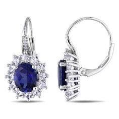 I've tagged a product on Zales: Oval Lab-Created Blue and White Sapphire with Diamond Accent Earrings in Sterling Silver