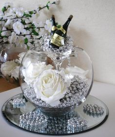 25 years of marriage calls for the best silver wedding decorations! Look through our 30 silver wedding ideas to find decor that is best for your ceremony! Candle Centerpieces, Wedding Centerpieces, Wedding Table, Diy Wedding, Candles, Wedding Ideas, Mirror Centerpiece, Party Wedding, Wedding Stuff