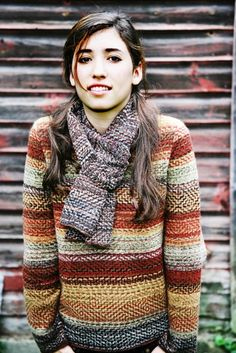 Autumn-rhapsody pullover sweater by Karen Allen ~ amazing stitches and weaving of colours here.