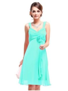 $50 Ever Pretty Flower Unique Ruffles Empire Waist Padded Bridesmaid Dress 03266, teal, turquoise, mint, knee length bridesmaid, sleeveless wedding