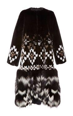 Mink And Fox Fur Faire Isle Intarsia Coat by Prabal Gurung for Preorder on Moda Operandi