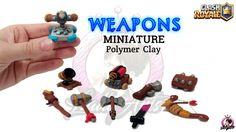 Weapons   Clash Royale   Polymer Clay Tutorial Clash Royale, Clay Tutorials, Clash Clans, Weapons, Polymer Clay, Geek Stuff, Scream, Brick, Charms