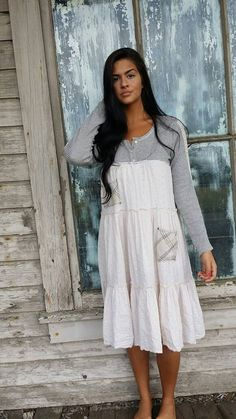 Shelly dress-small medium-artsy-Eco clothing-upcycled clothing-Free People inspired-by Love HIGHER Handmade Clothing