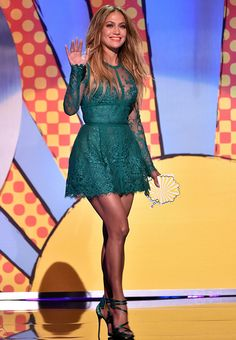 Sexy Jewel-tone Lace: Jennifer Lopez inEllie Saabemerald green sheer lace mini dress with strappy jewel-tone high-heels sandals Best Dressed at Teen Choice Awards 2014 #TCAs #TeenChoiceAwards