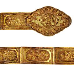 Indonesia ~ South Sumatra or Batavia | Belt with birds and mythological figures; gold | Peranakan Chinese craftsmanship | Late 19th to early 20th century || Source: 'Gold Jewellery of the Indonesian Archipelago'; pg 339
