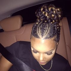 Goddess Braids in a bun . Cute designs on curly hair, ponytail styles, with & without weave, various box braids on African . African Hairstyles, Girl Hairstyles, Braided Hairstyles, Black Hairstyles, Braided Updo, Hairstyle Braid, School Hairstyles, Straight Weave Hairstyles, Hairstyles 2018