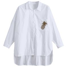 Pocket High Low Pineapple Embroidered Shirt ($19) ❤ liked on Polyvore featuring tops, blouses, white pocket shirt, pineapple print shirts, white embroidered blouse, pineapple blouse and pineapple shirt